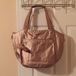 Kipling large metallic gold tote bag
